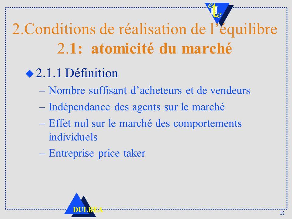2.Conditions de réalisation de l'équilibre 2.1: atomicité du marché