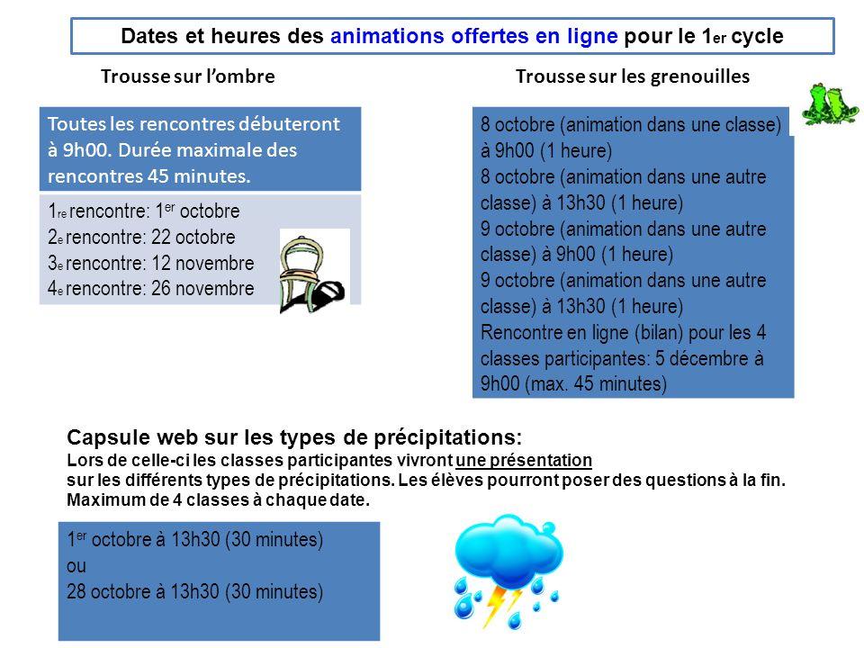 Dates et heures des animations offertes en ligne pour le 1er cycle