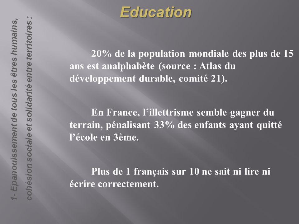 Education cohésion sociale et solidarité entre territoires : 1- Epanouissement de tous les êtres humains,