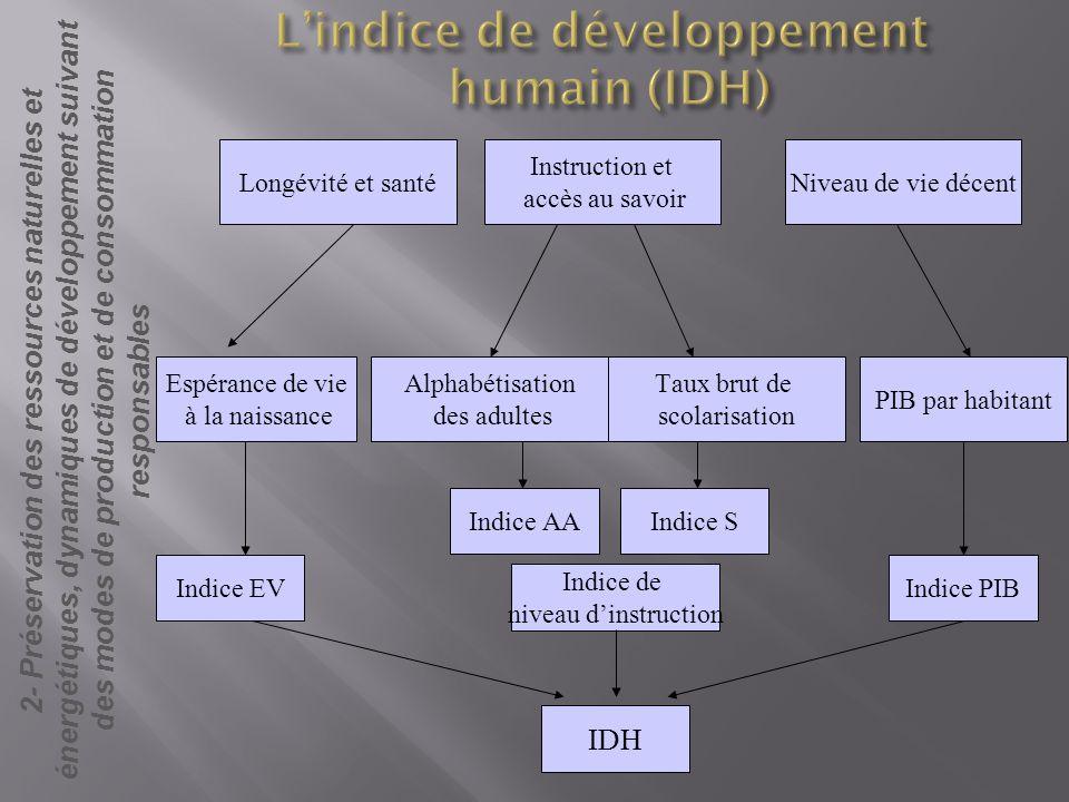L'indice de développement humain (IDH)