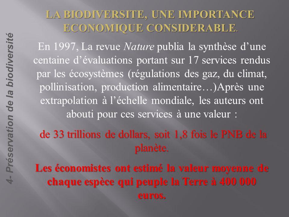LA BIODIVERSITE, UNE IMPORTANCE ECONOMIQUE CONSIDERABLE.