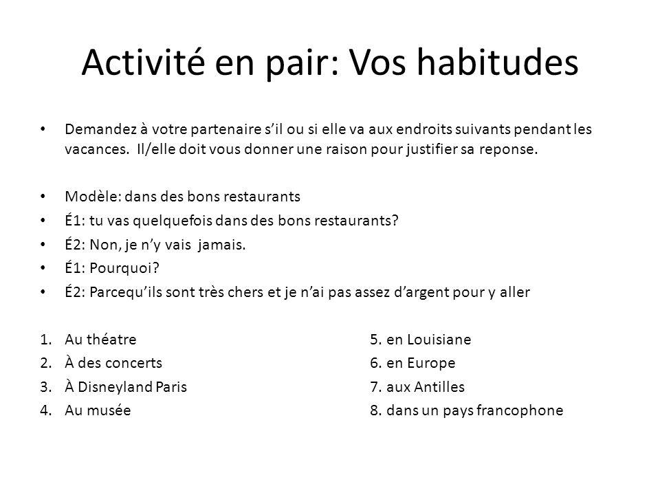 Activité en pair: Vos habitudes