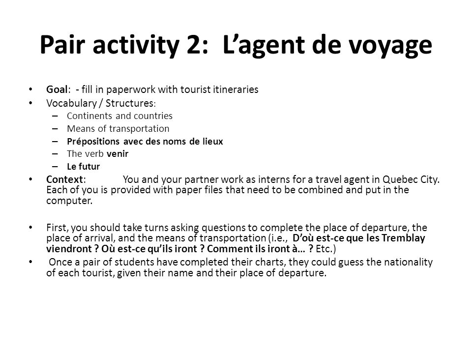 Pair activity 2: L'agent de voyage