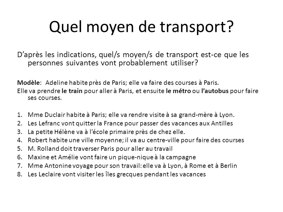 Quel moyen de transport