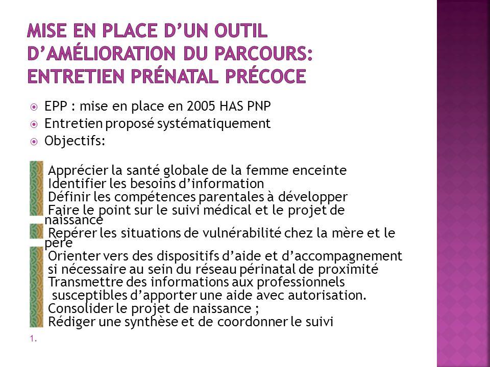 Mise en place d'un outil d'amélioration du parcours: Entretien prénatal précoce