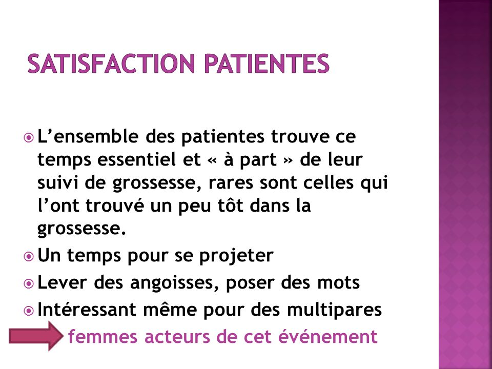 Satisfaction patientes