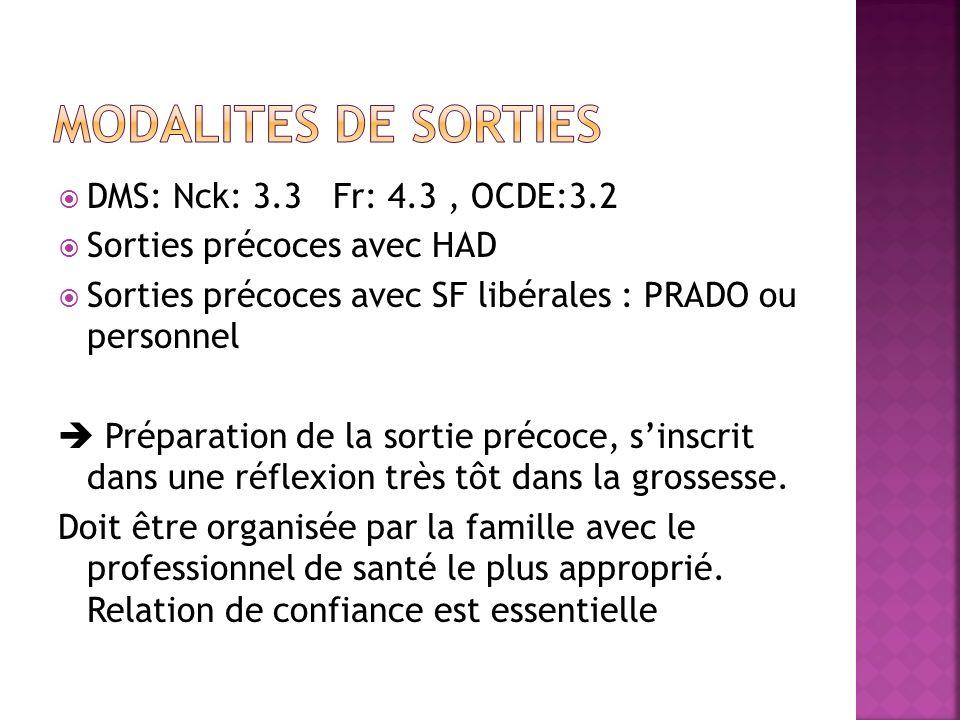 Modalites de sorties DMS: Nck: 3.3 Fr: 4.3 , OCDE:3.2