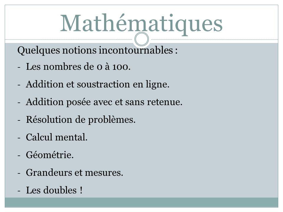 Mathématiques Quelques notions incontournables :