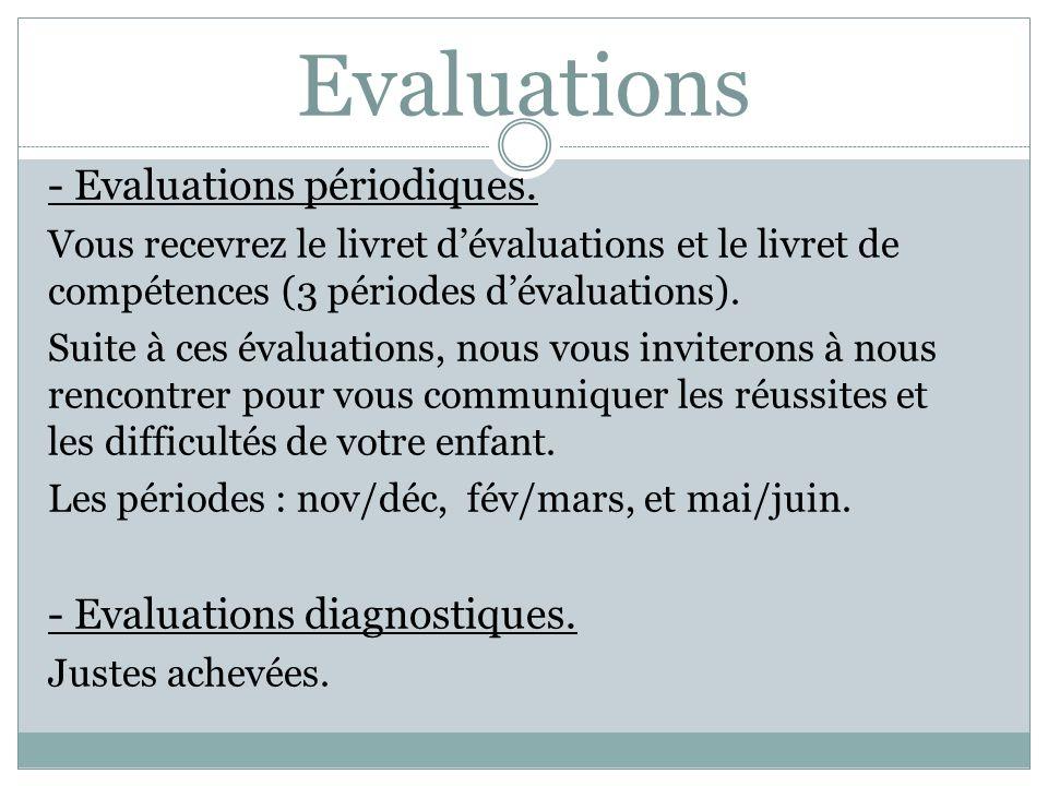 Evaluations - Evaluations périodiques. - Evaluations diagnostiques.