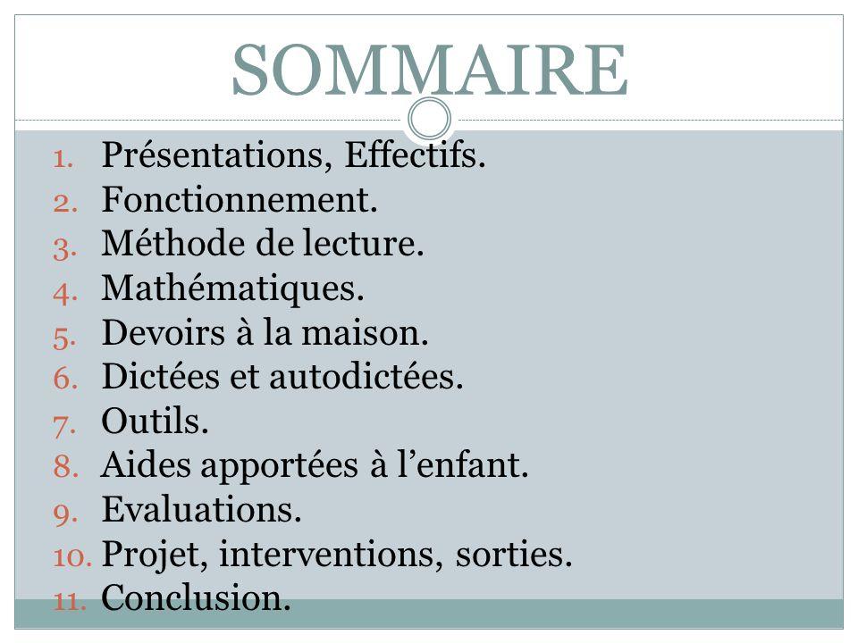 SOMMAIRE Présentations, Effectifs. Fonctionnement. Méthode de lecture.