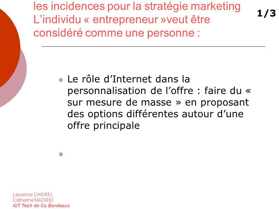 les incidences pour la stratégie marketing L'individu « entrepreneur »veut être considéré comme une personne :