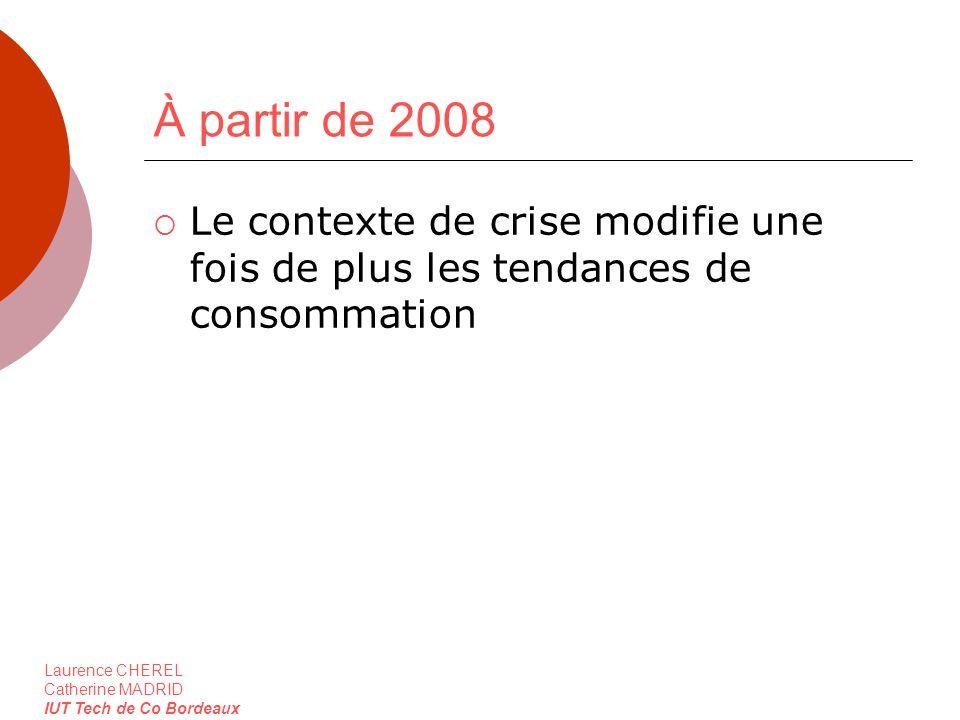 À partir de 2008 Le contexte de crise modifie une fois de plus les tendances de consommation