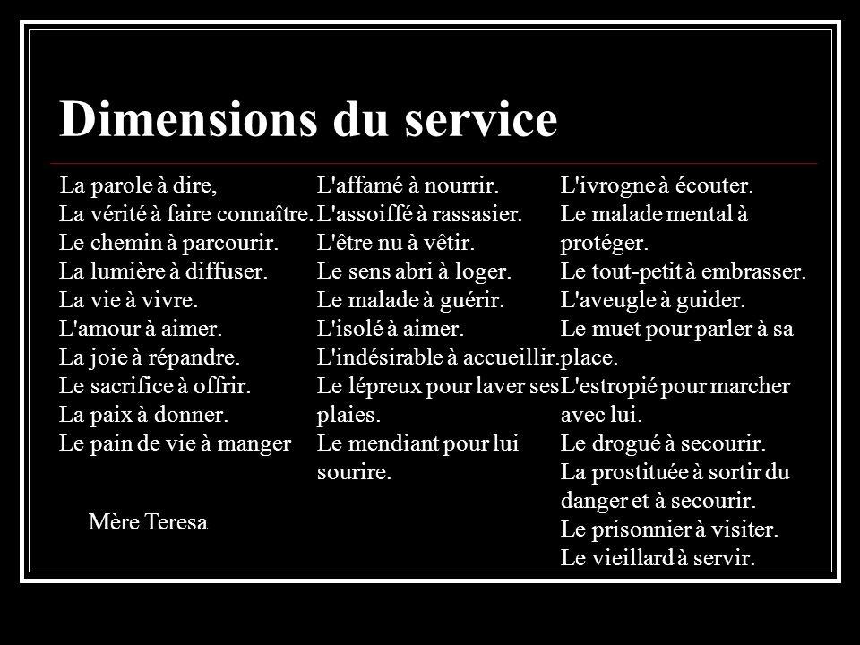 Dimensions du service La parole à dire, La vérité à faire connaître.