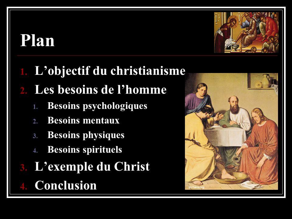 Plan L'objectif du christianisme Les besoins de l'homme