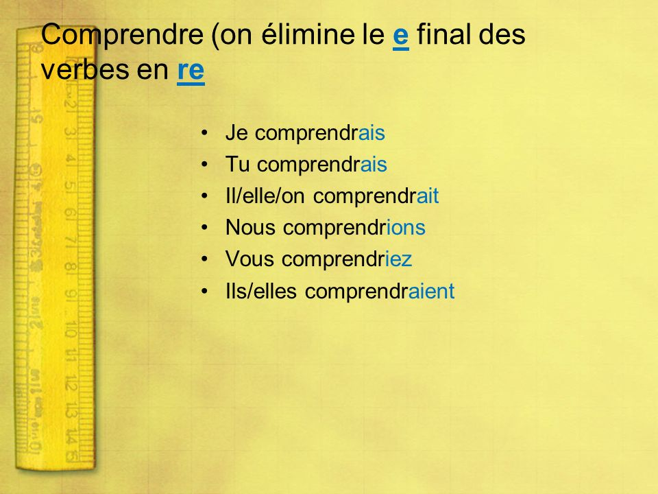 Comprendre (on élimine le e final des verbes en re
