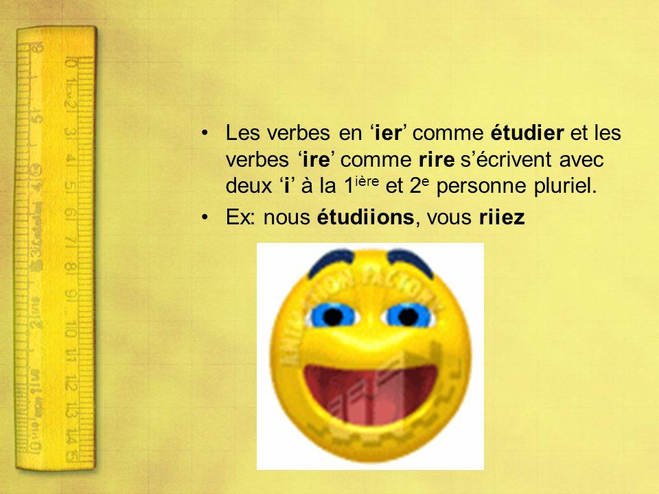 Les verbes en 'ier' comme étudier et les verbes 'ire' comme rire s'écrivent avec deux 'i' à la 1ière et 2e personne pluriel.