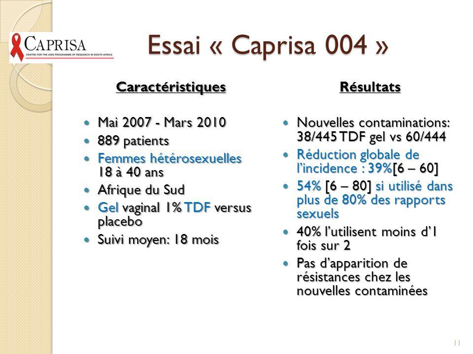 Essai « Caprisa 004 » Caractéristiques Mai 2007 - Mars 2010
