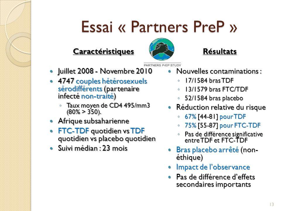 Essai « Partners PreP » Caractéristiques Juillet 2008 - Novembre 2010