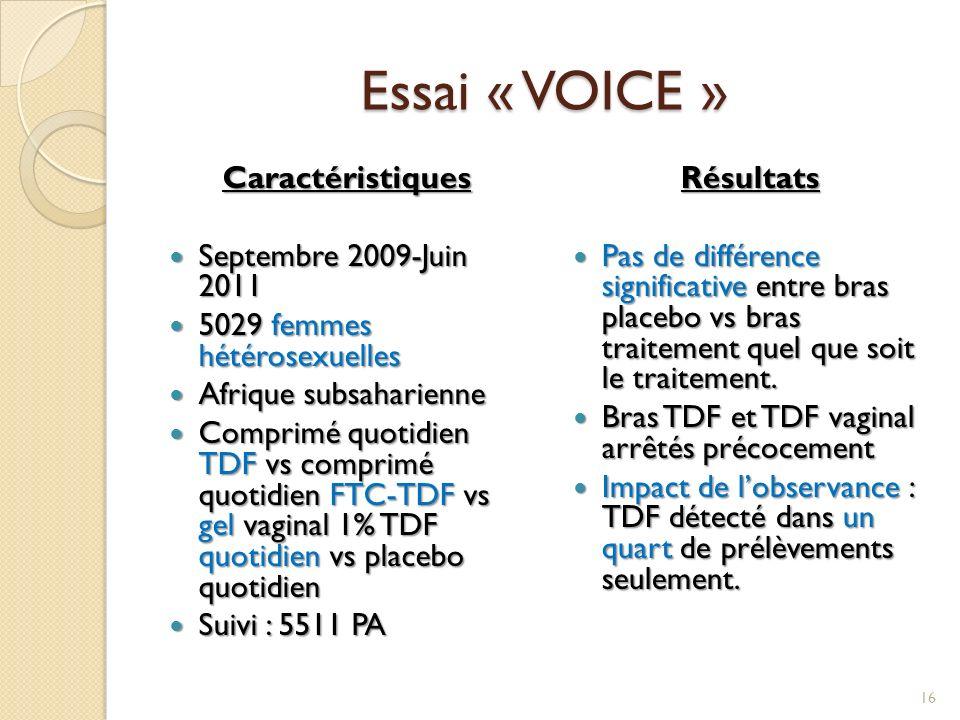 Essai « VOICE » Caractéristiques Septembre 2009-Juin 2011
