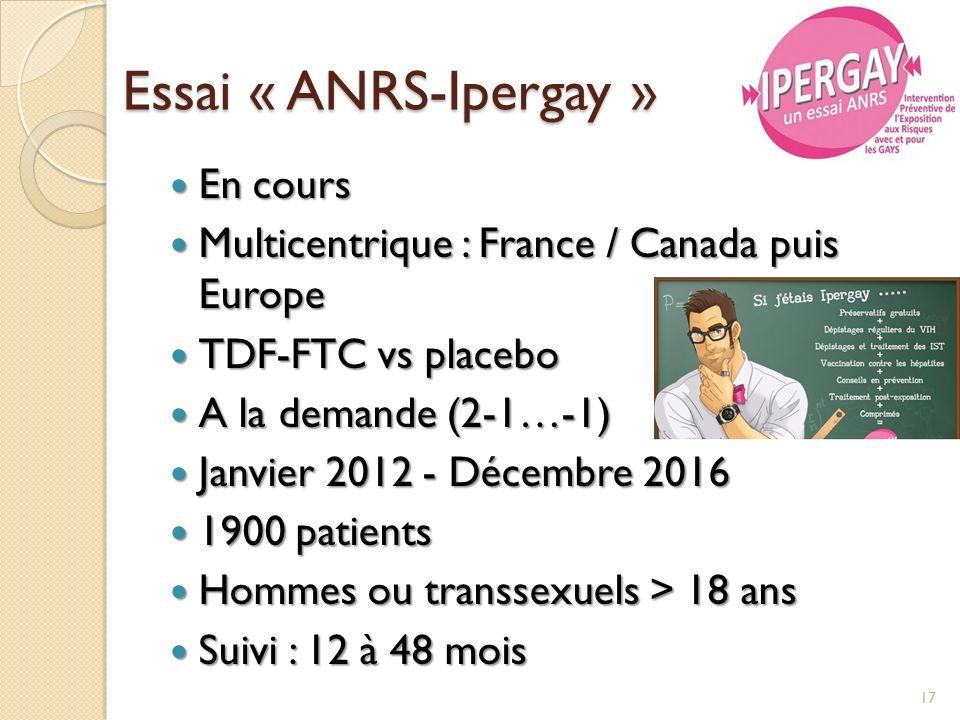 Essai « ANRS-Ipergay » En cours