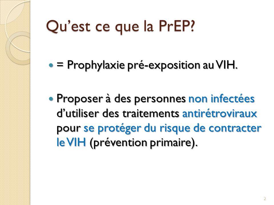 Qu'est ce que la PrEP = Prophylaxie pré-exposition au VIH.