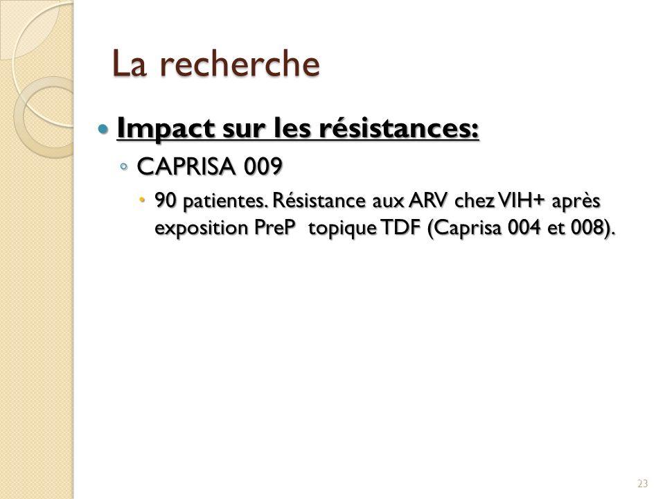 La recherche Impact sur les résistances: CAPRISA 009