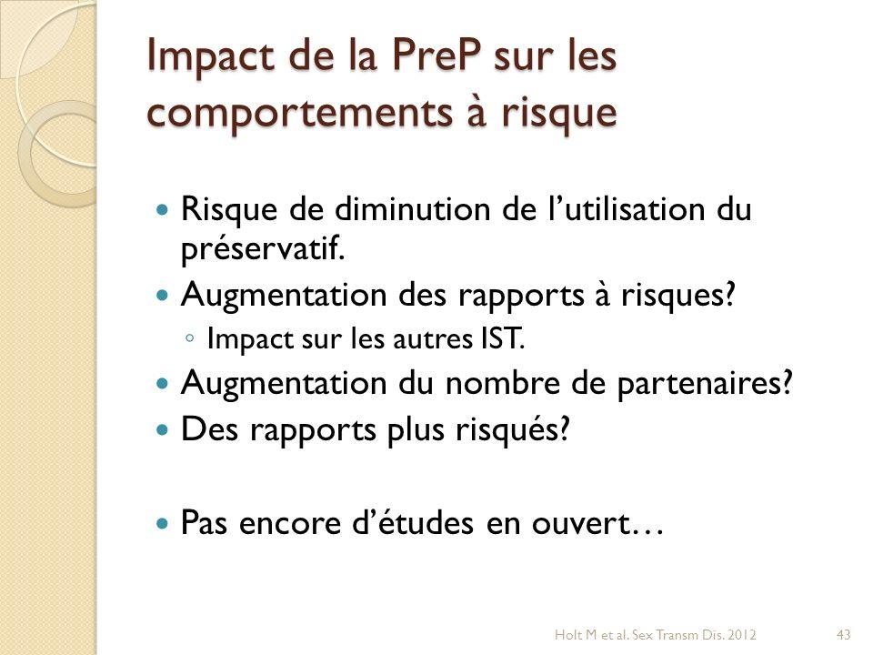 Impact de la PreP sur les comportements à risque