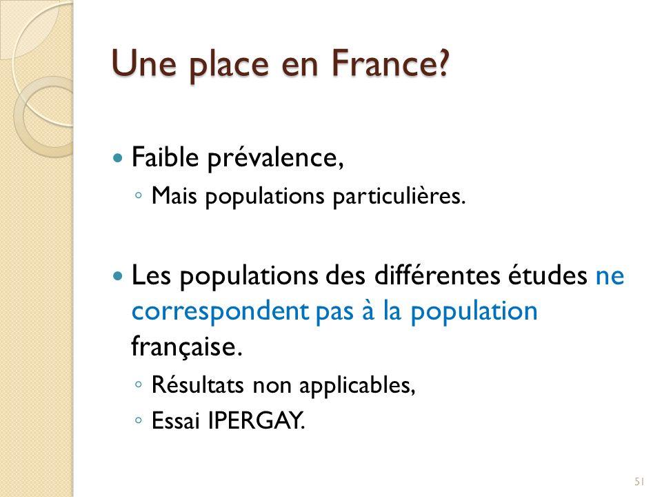 Une place en France Faible prévalence,