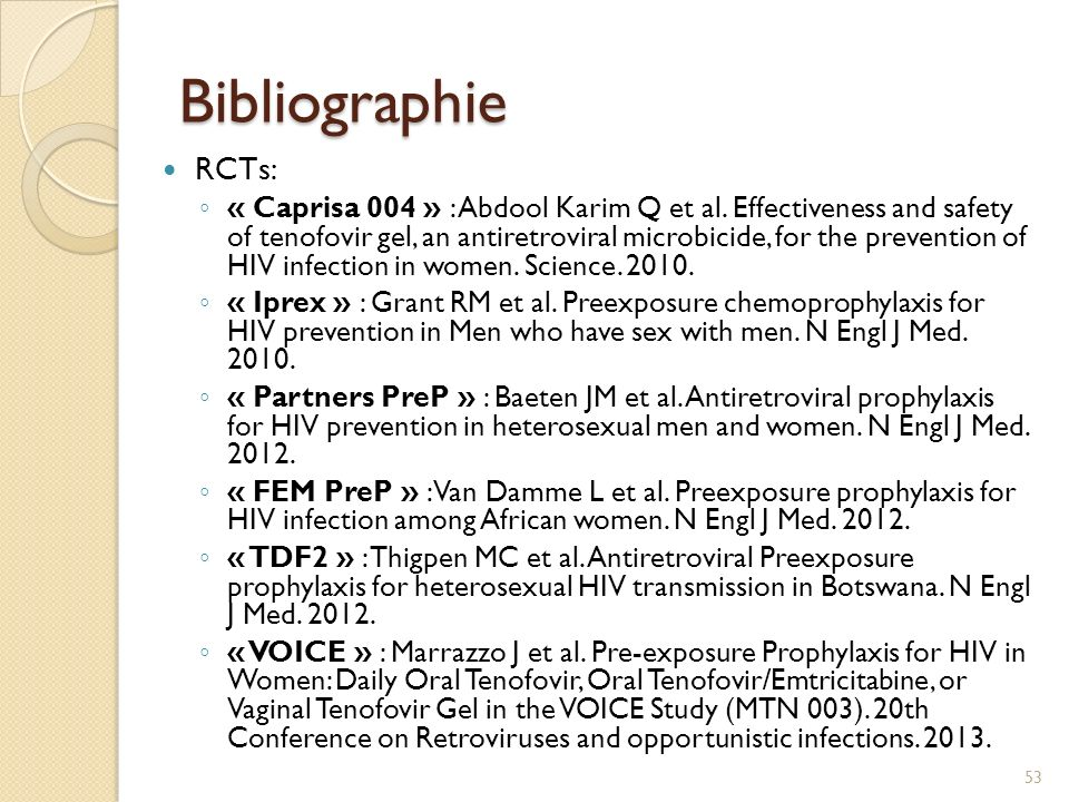 Bibliographie RCTs: