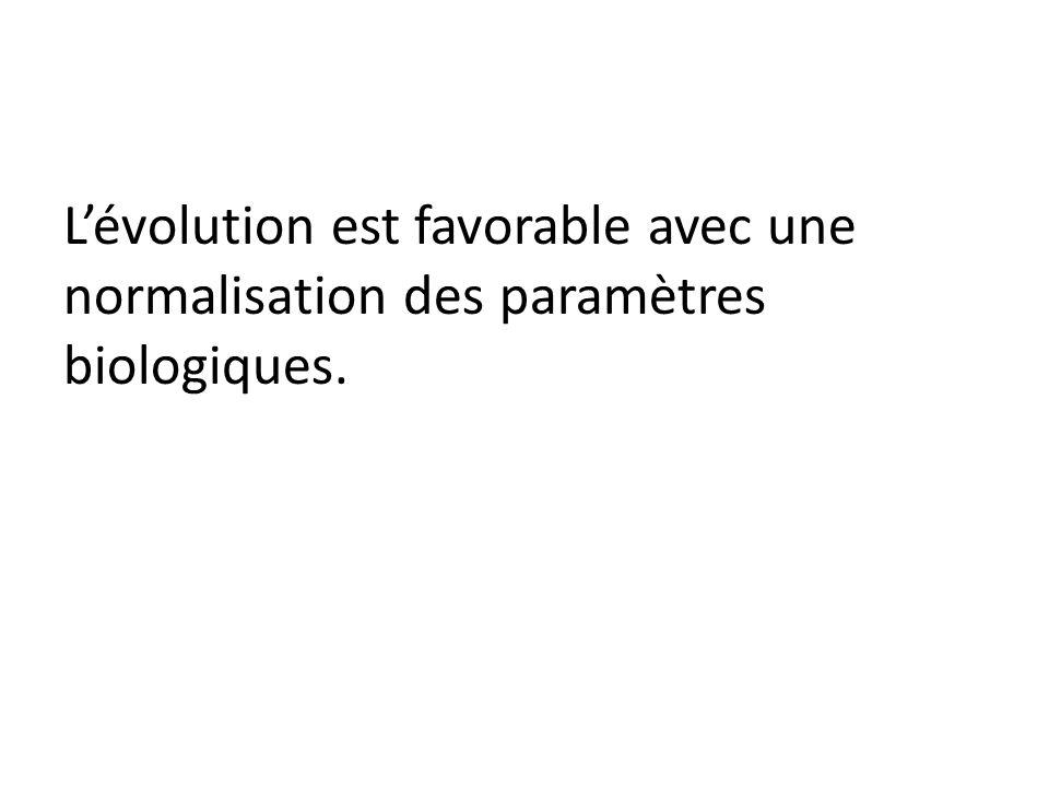 L'évolution est favorable avec une normalisation des paramètres biologiques.