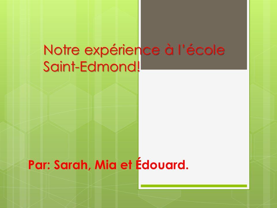 Notre expérience à l'école Saint-Edmond!