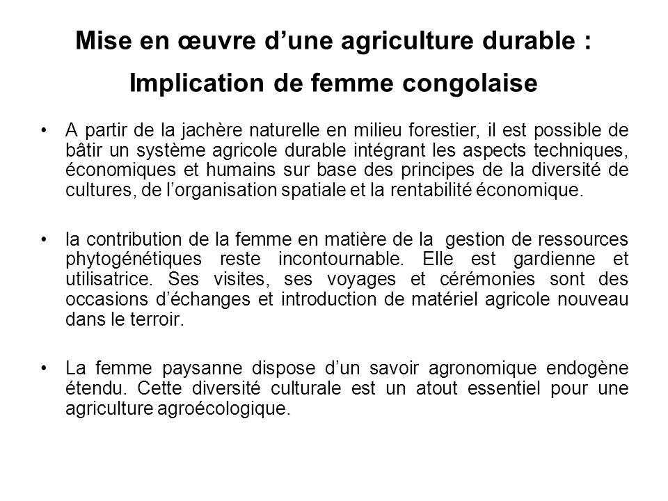 Mise en œuvre d'une agriculture durable : Implication de femme congolaise