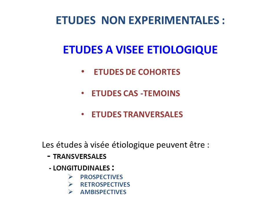 ETUDES NON EXPERIMENTALES : ETUDES A VISEE ETIOLOGIQUE