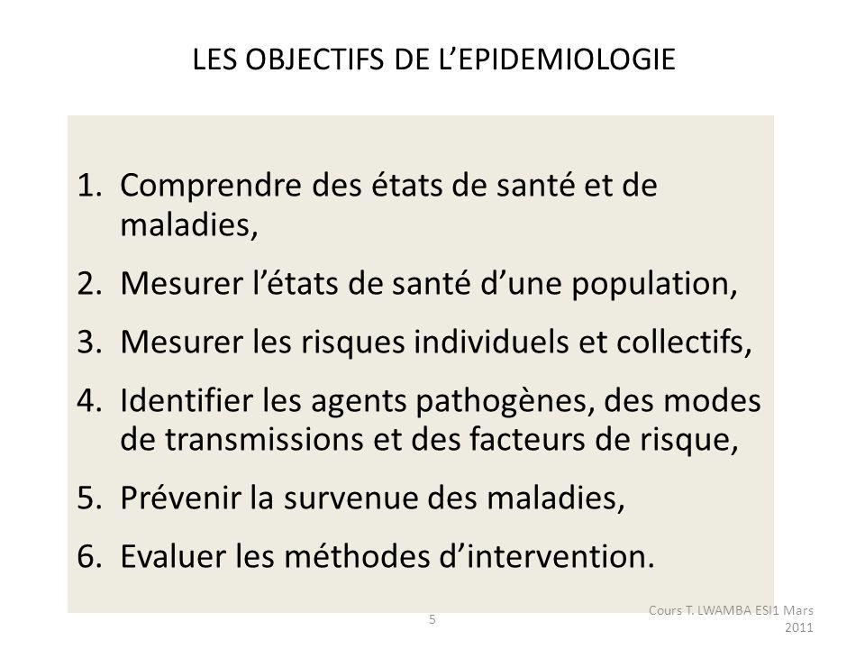 LES OBJECTIFS DE L'EPIDEMIOLOGIE