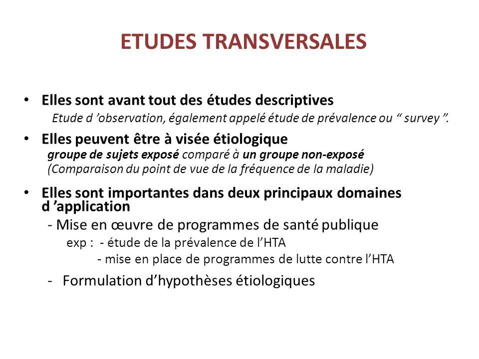 ETUDES TRANSVERSALES Elles sont avant tout des études descriptives
