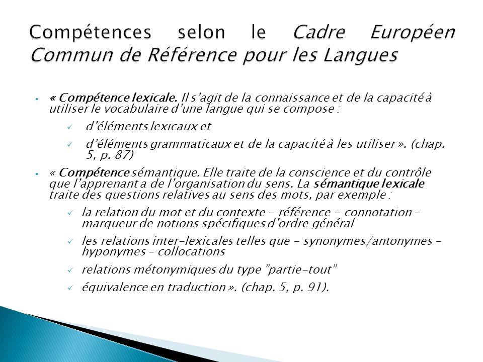 Compétences selon le Cadre Européen Commun de Référence pour les Langues