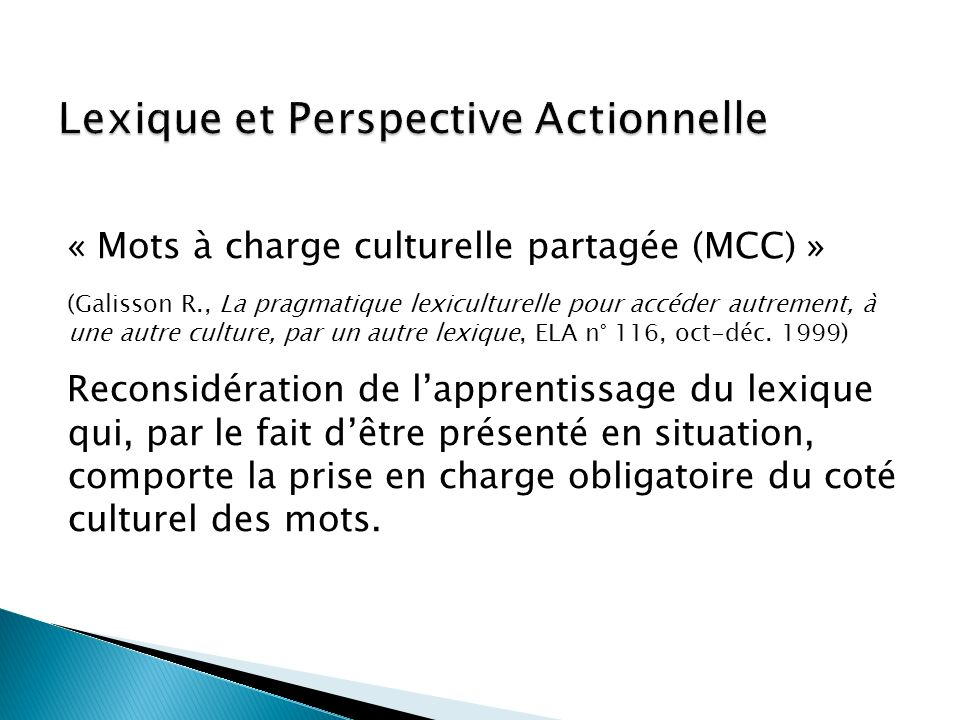 Lexique et Perspective Actionnelle