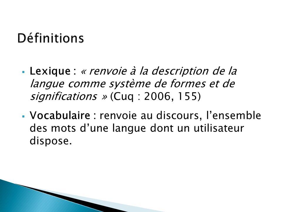 Définitions Lexique : « renvoie à la description de la langue comme système de formes et de significations » (Cuq : 2006, 155)