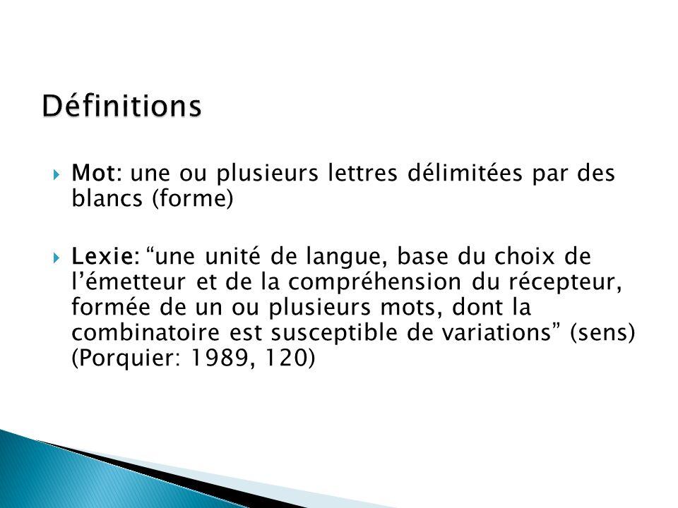 Définitions Mot: une ou plusieurs lettres délimitées par des blancs (forme)