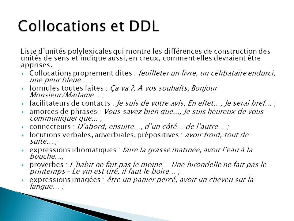 Collocations et DDL