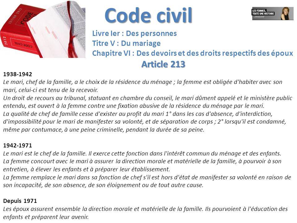 Code civil Article 213 Livre Ier : Des personnes Titre V : Du mariage