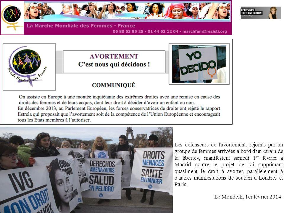 Les défenseurs de l avortement, rejoints par un groupe de femmes arrivées à bord d un «train de la liberté», manifestent samedi 1er février à Madrid contre le projet de loi supprimant quasiment le droit à avorter, parallèlement à d autres manifestations de soutien à Londres et Paris.