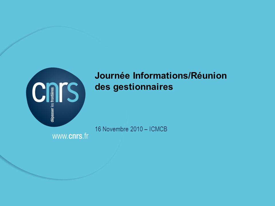 Réunion gestionnaires 16 novembre 2010