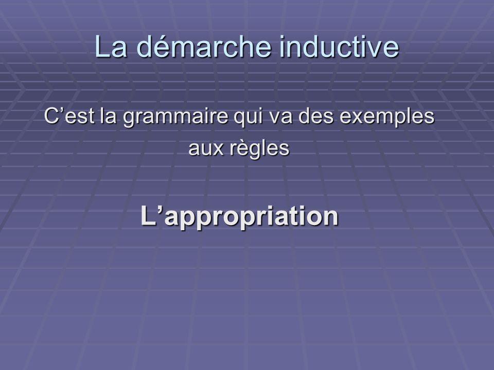 C'est la grammaire qui va des exemples