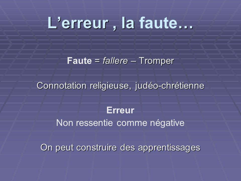 L'erreur , la faute… Faute = fallere – Tromper