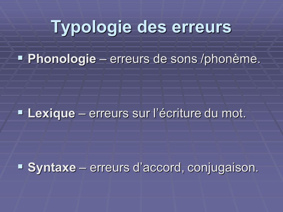 Typologie des erreurs Phonologie – erreurs de sons /phonème.