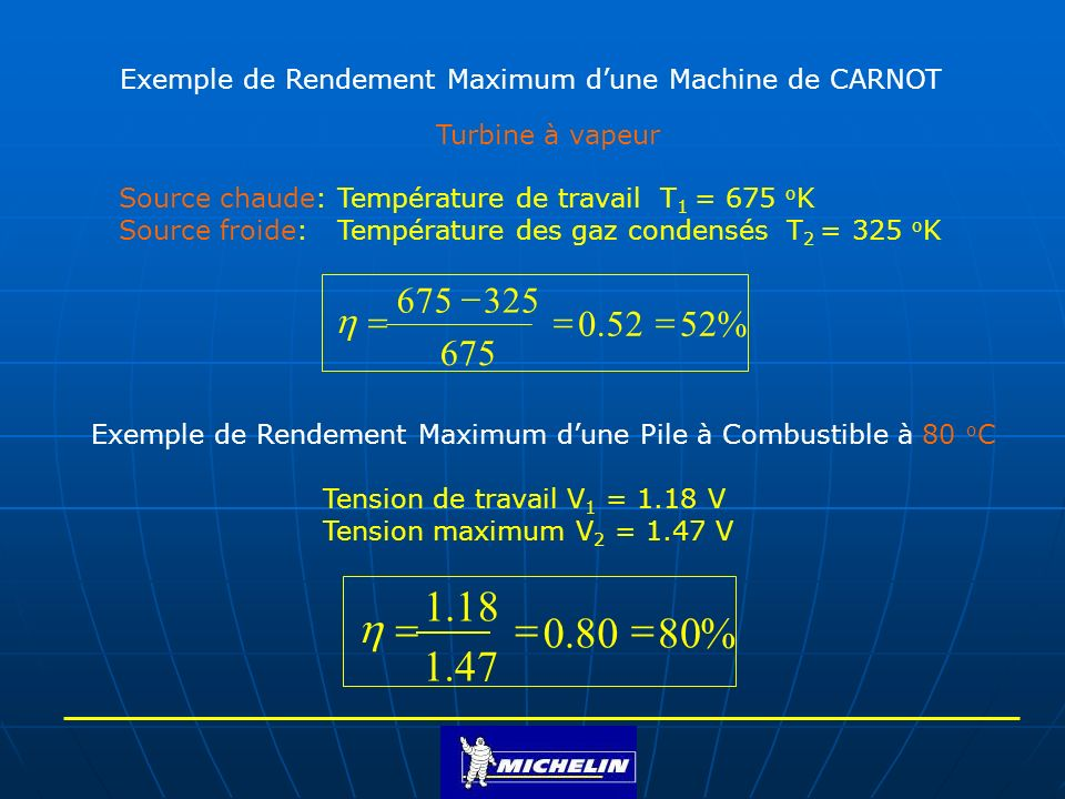 Exemple de Rendement Maximum d'une Machine de CARNOT