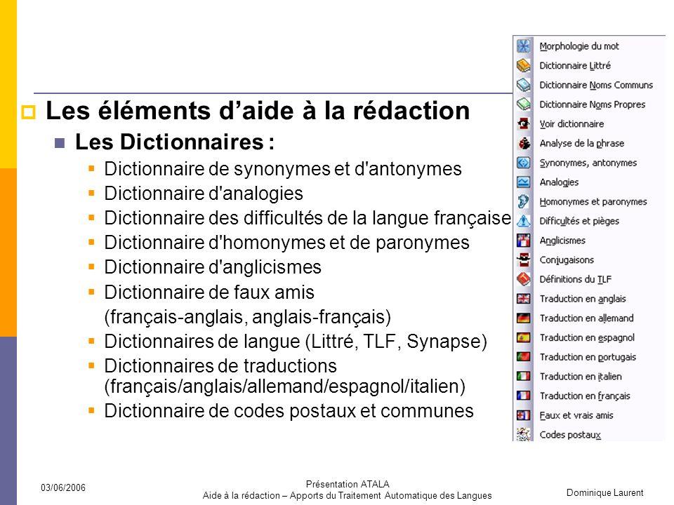 Aide à la rédaction – Apports du Traitement Automatique des Langues