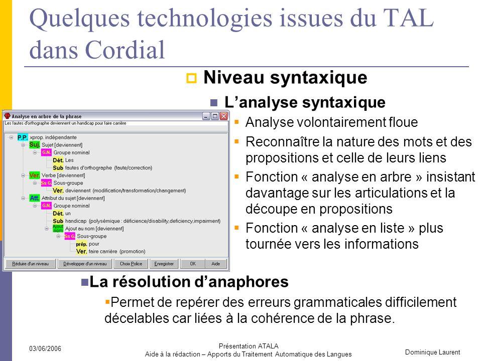 Quelques technologies issues du TAL dans Cordial