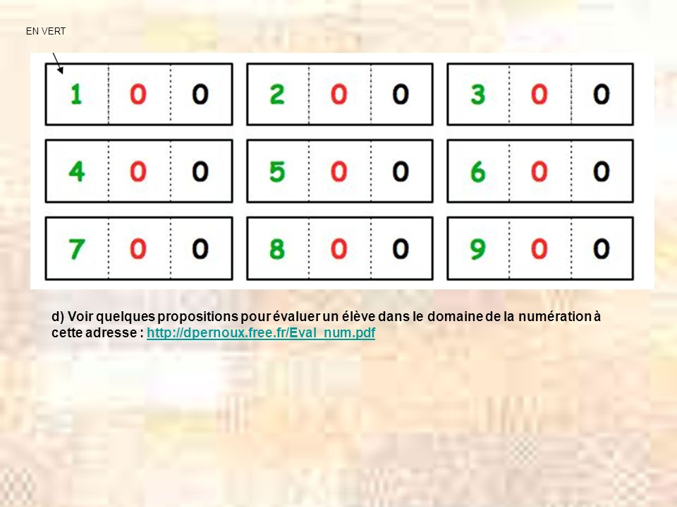 EN VERT d) Voir quelques propositions pour évaluer un élève dans le domaine de la numération à cette adresse : http://dpernoux.free.fr/Eval_num.pdf.